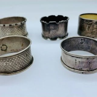 A Selection of Hallmarked silver napkin rings