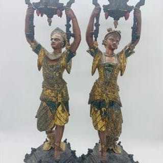 A Pair of Cold Painted Bronze candlesticks.