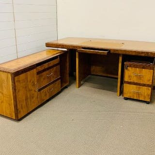 A large walnut veneer chairman's desk with two drawer under desk cabinet
