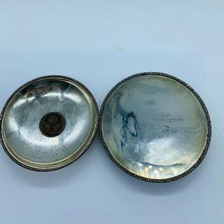 Two silver pin trays,possibly Indian.