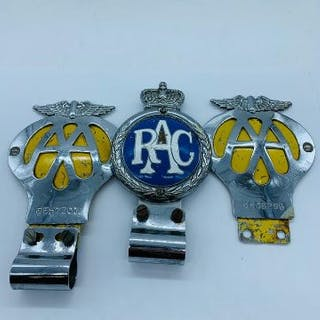 Three Vintage Car Badges RAC and Two AA
