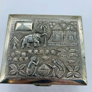 An Indian Silver embossed cigarette box
