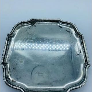 A Hallmarked silver tray on four feet, London B & S Makers Mark (355g)