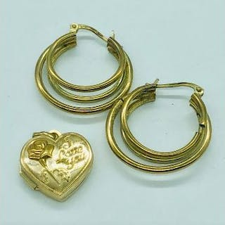 9ct gold earrings and a heart shaped pendant (3.23g Total weight)