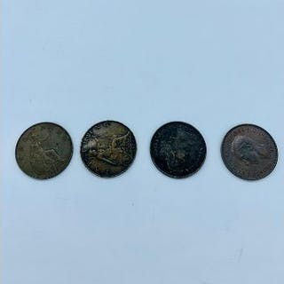 UK Coins; Four Farthing Coins 1891, 1906, 1929, 1947.