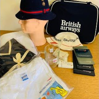 A collection of British airways memorabilia to include uniform hat