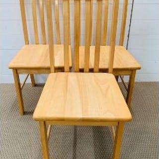 Three pine kitchen chairs
