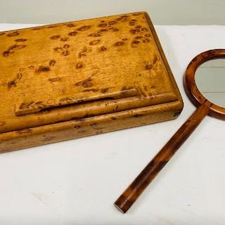A maple birds eye jewellery box and hand mirror