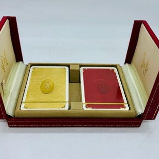 Leather box set of sealed Cartier playing cards limited edition 70's