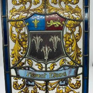 A Stained glass window from Eton College bearing the motto 'Floreat Etona'