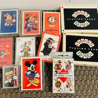 A selection of Walt Disney and Looney Tunes playing cards