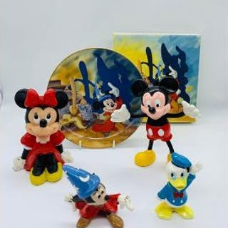 A selection of Walt Disney china and toys including fantasia items