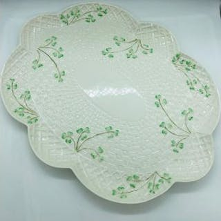 A large Belleek pottery platter with classic shamrock design circa 1860's
