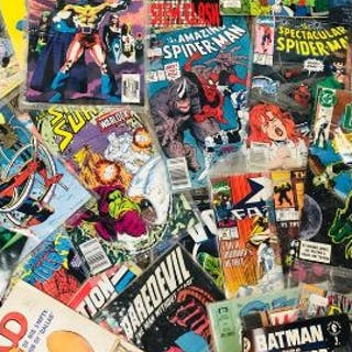 A very large selection of comics to include Mask, Spiderman, Mad Green