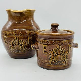 Treacle ware pottery commemorative lidded pot and jug