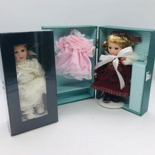 Two Victorian dolls still boxed