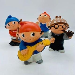 Set of four German, Mainzelmannchen plastic figures marked MFP 1975