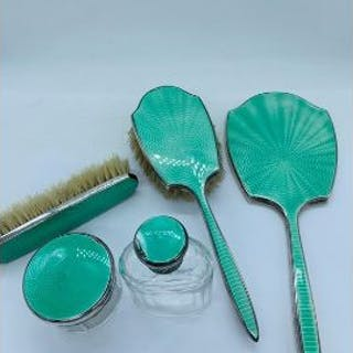 A Five piece green enamel on silver Ladies Dressing Table set