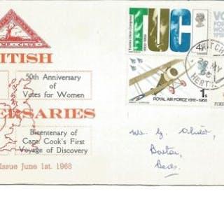 British Anniversaries 1968 FDC rare North Herts Stamp club illustrated