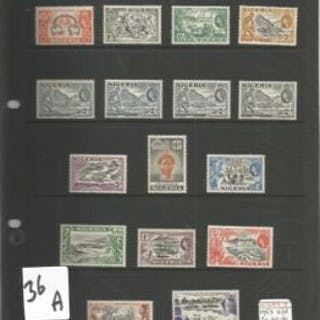 Nigeria mint and used stamp collection. 33 stamps. 1953 EII SG 69