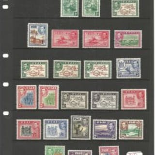 Fiji mint stamp collection on loose album page. 39 stamps. Includes