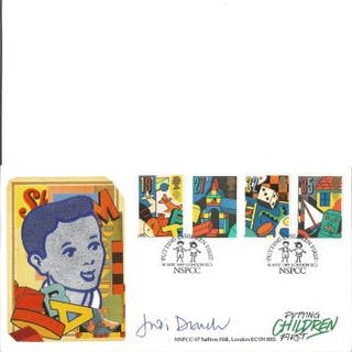 Judi Dench Games and Toys NSPCC. Signed cover FDC. Good Condition.