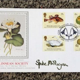 Spike Milligan signed The Linnean Society FDC with full set of stamps