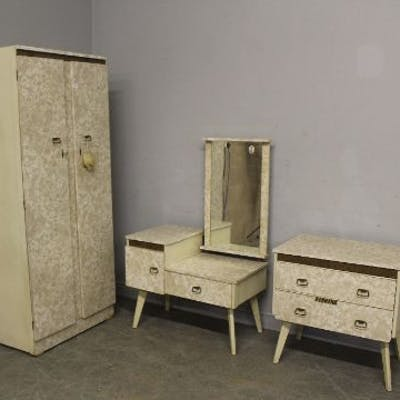 A 1950 S 1960 S John Citizen Furniture Marble Effect Melamine Three Piece Barnebys