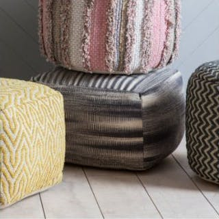 Tivoli Pouffe Grey On-Trend Monochrome Pouffe With All Over Ombre