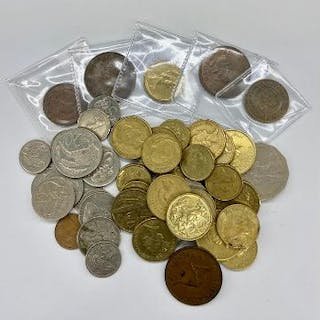 A quantity of Australian and New Zealand, one and two dollar coins.