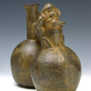 Chimu Inca Pottery Double Chambered Whistling Vessel