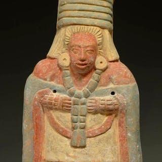 Pre Columbian Maya Jaina Ceramic Efiigy Whistle of an Elite Personage