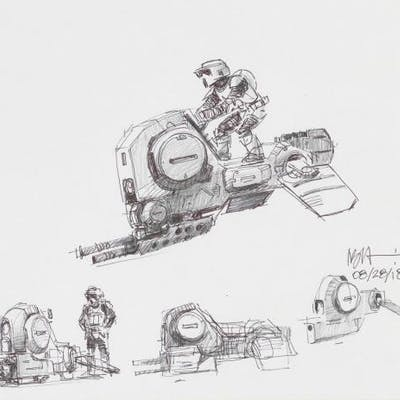 Lot # 155: Alternate Speeder Bike Multiple Colored Sketches