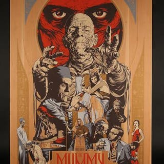 "Lot #312 - THE MUMMY (1932) - Mondo ""Wood"" Poster c2011"