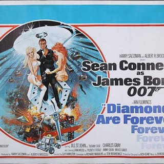 Lot #168 - JAMES BOND: DIAMONDS ARE FOREVER (1971) - UK Quad Poster 1971