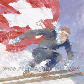 Davos: 'Skier with Flag' Poster