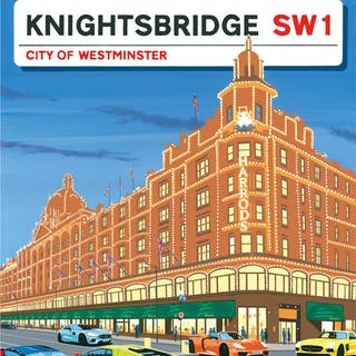 Supercars in Knightsbridge Poster