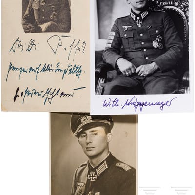 Träger des Ritterkreuzes des Eisernen Kreuzes - drei Autographen