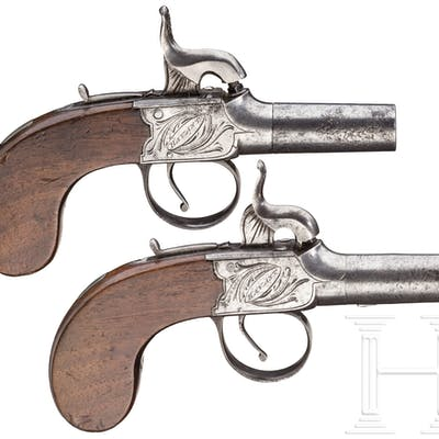 Ein Paar Perkussionsterzerole, England, um 1820