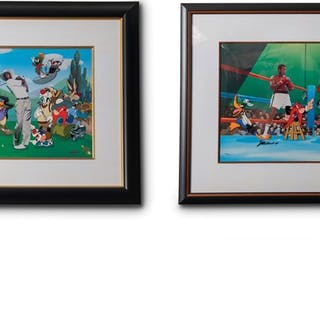 Looney Tunes Michael Jordan and Muhammed Ali Autographed Framed Sericels