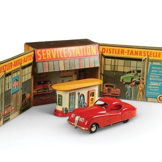 Marx Distler Electric Filling Station and Tin Garage with Jaguar XK