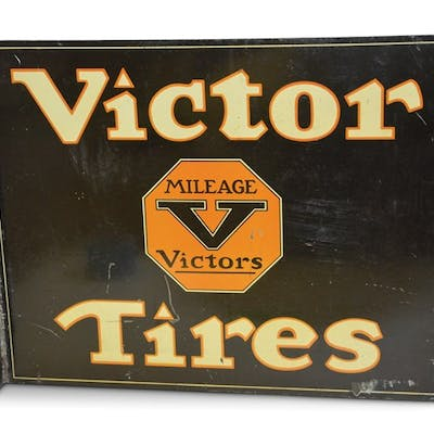 Victor Tires with Logo Tin Flange Sign classic car