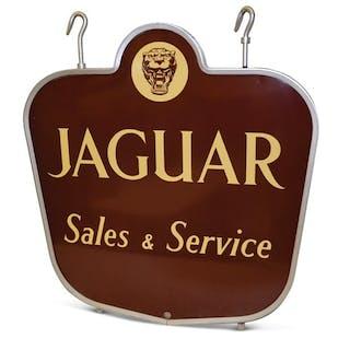 """""""Jaguar Sales & Service"""" with Logo Porcelain Sign classic car"""