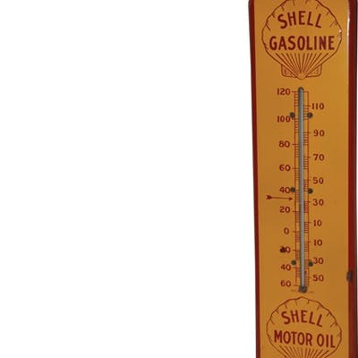 Shell Gasoline Shell Motor Oil Porcelain Thermometer classic car
