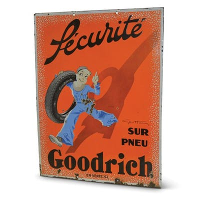 """""""Goodrich Securité"""" with Boy Carryng a Tire by Geo Ham classic car"""