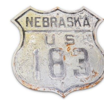 Nebraska U.S. Route 183 Shield Tin Sign classic car