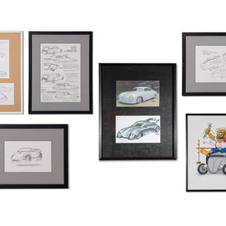 Porsche Concept Drawings by Byron Kauffman and Porsche Hot Rod Artwork