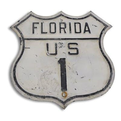 Florida U.S. Route 1 Shield Tin Sign classic car