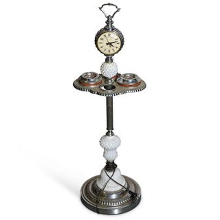 Standing Lighted Ash Tray with Clock classic car