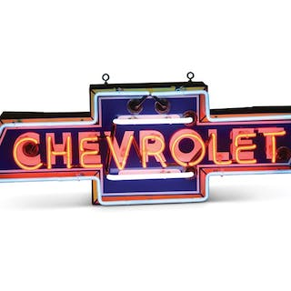 Multi-Color Chevrolet in Bowtie Neon Porcelain Sign classic car